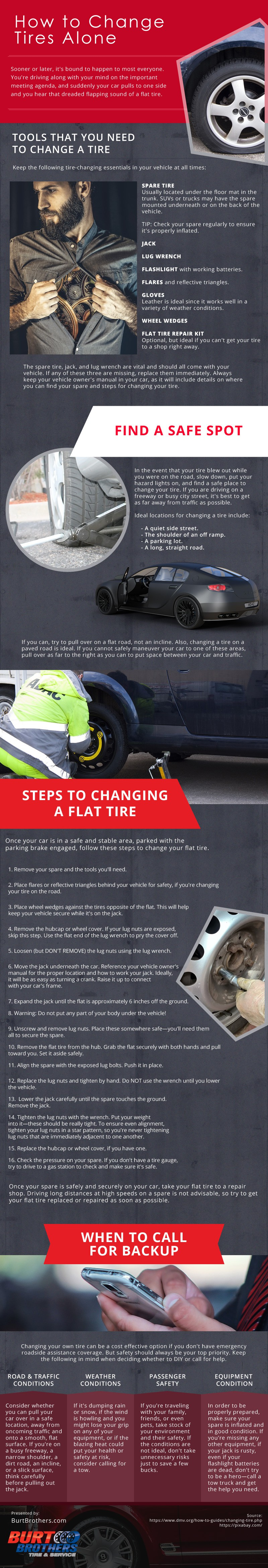 How-to-Change-Tires-Alone Infographic