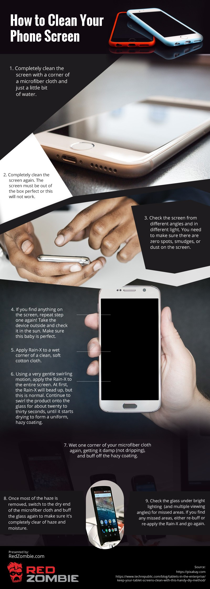 How-to-Clean-Your-Phone-Screen Infographic