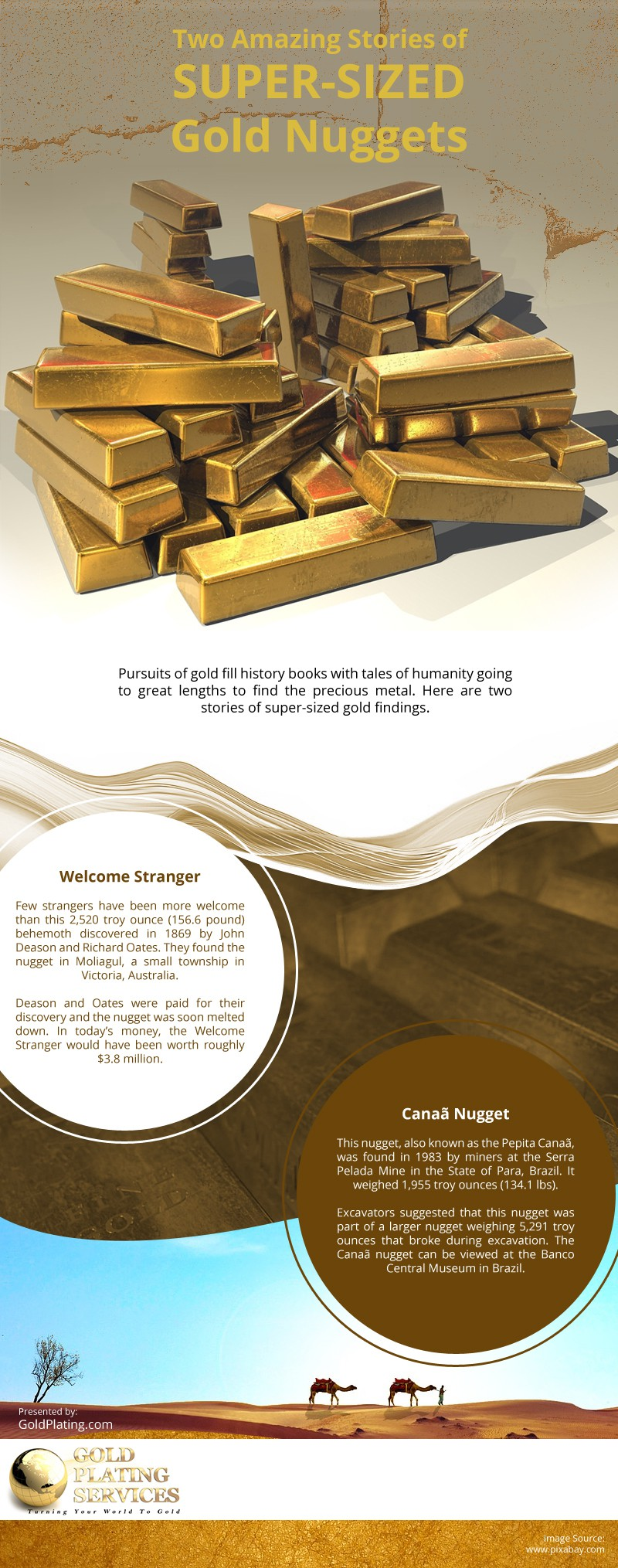 Two Amazing Stories of Super-Sized Gold Nuggets Infographic