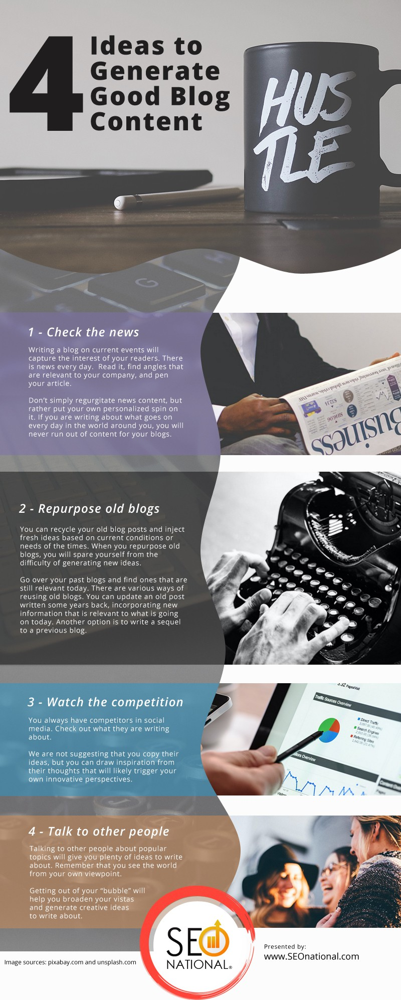 4 Ideas to Generate Good Blog Content Infographic