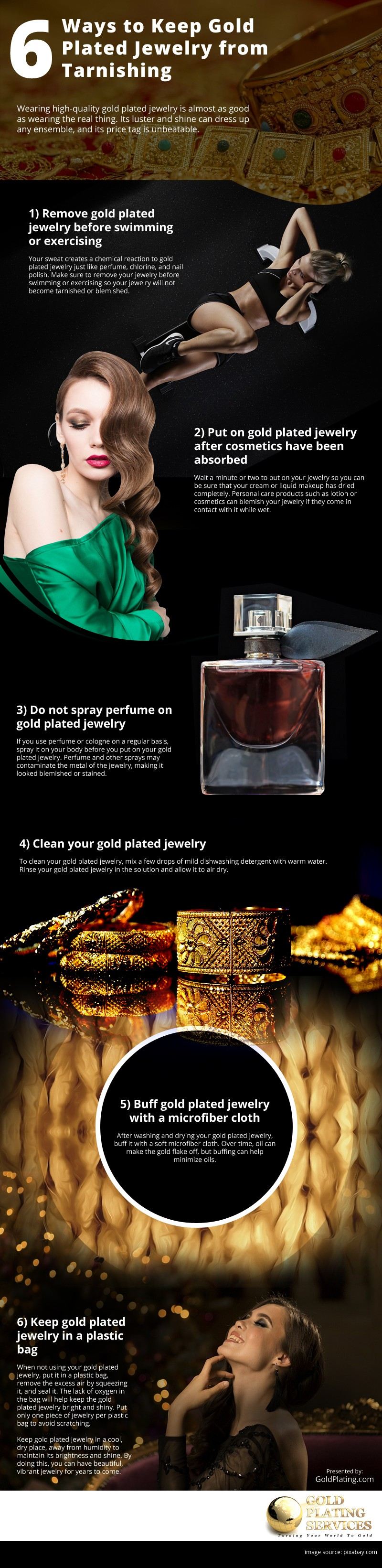 6 Ways to Keep Gold Plated Jewelry from Tarnishing Infographic