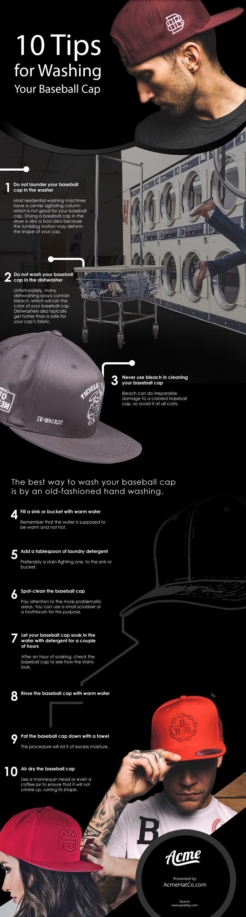 10 Tips for Washing Your Baseball Caps Infographic