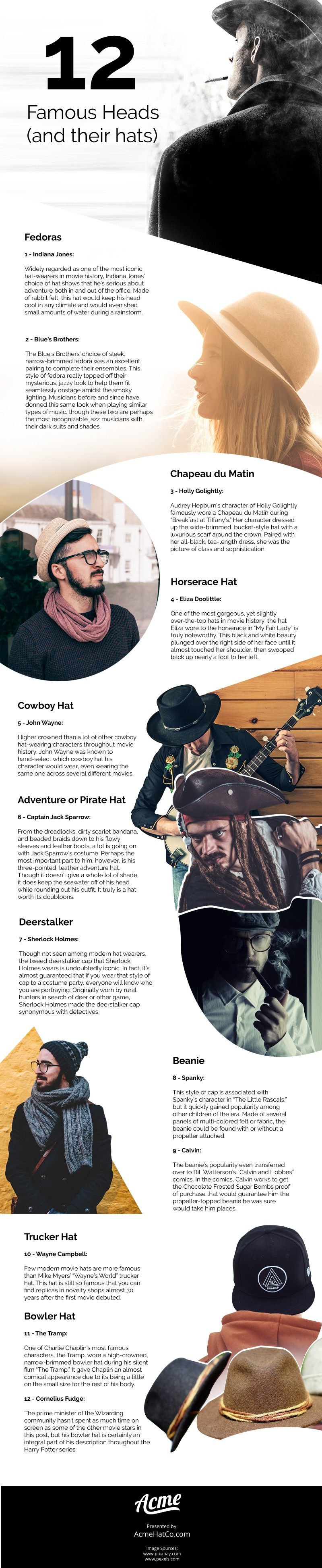 12 Famous Heads (and their Hats) Infographic