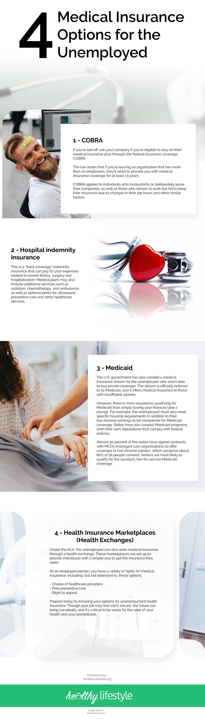 4 Medical Insurance Options for the Unemployed Infographic