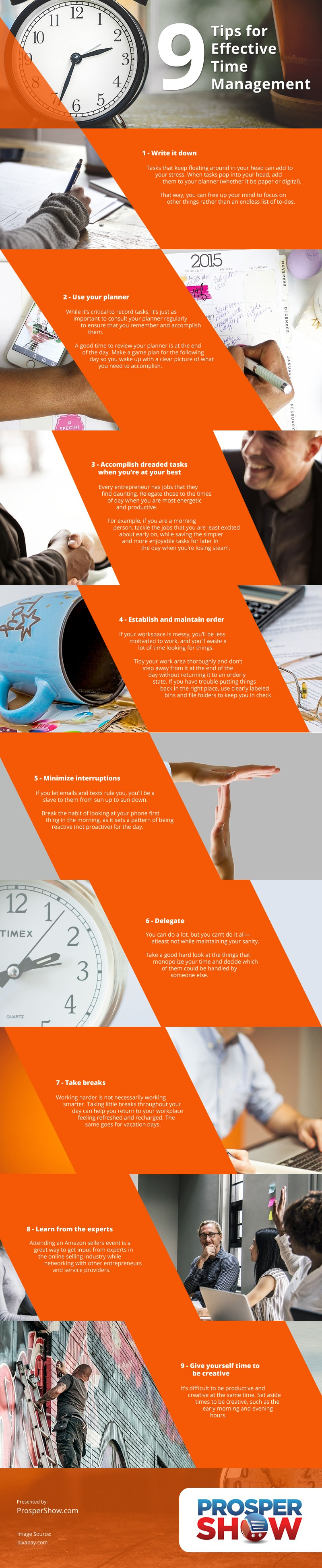 9 Tips for Effective Time Management Infographic