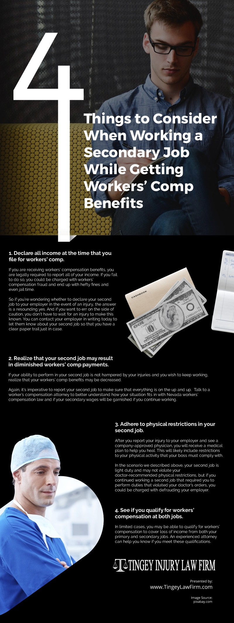 4 Things to Consider When Working a Secondary Job While Getting Workers' Comp Benefits Infographic