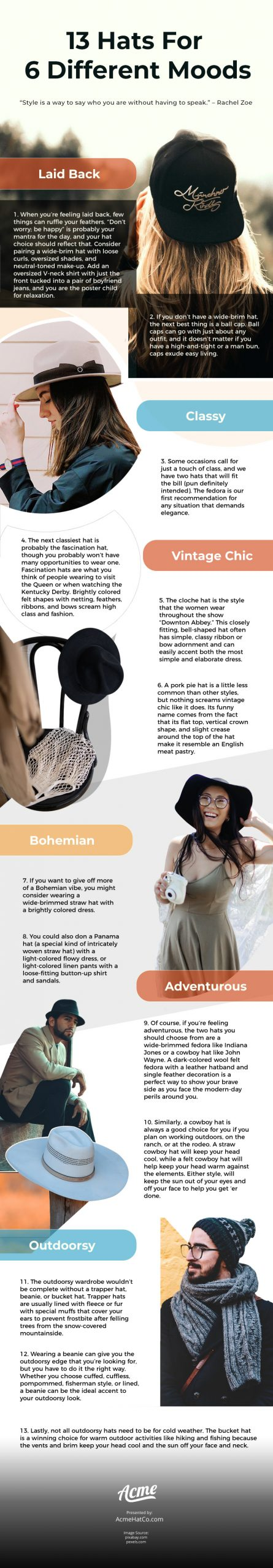 13 Hats For 6 Different Moods [infographic]